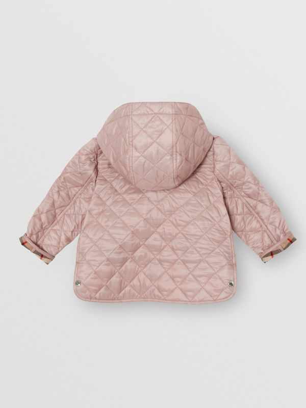 Detachable Hood Diamond Quilted Jacket in Ice Pink - Children | Burberry - cell image 3