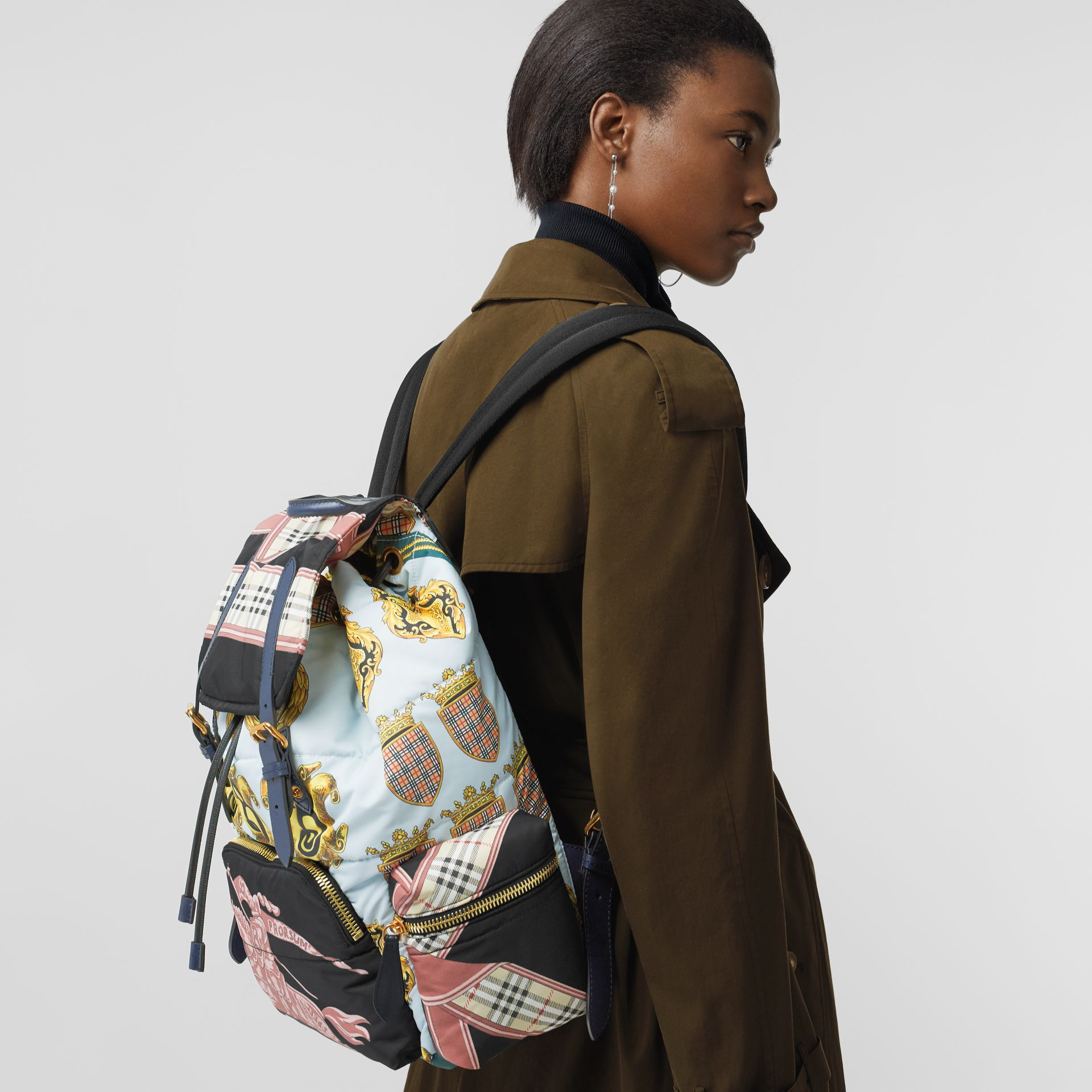 The Large Rucksack in Archive Scarf Print in Black - Men | Burberry - gallery image 6