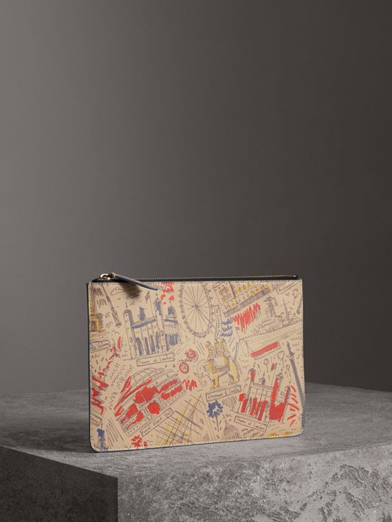 London Print Leather Zip Pouch in Multicolour