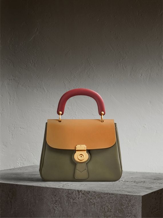 The Medium DK88 Top Handle Bag in Moss Green/ochre Yellow - Women | Burberry Singapore
