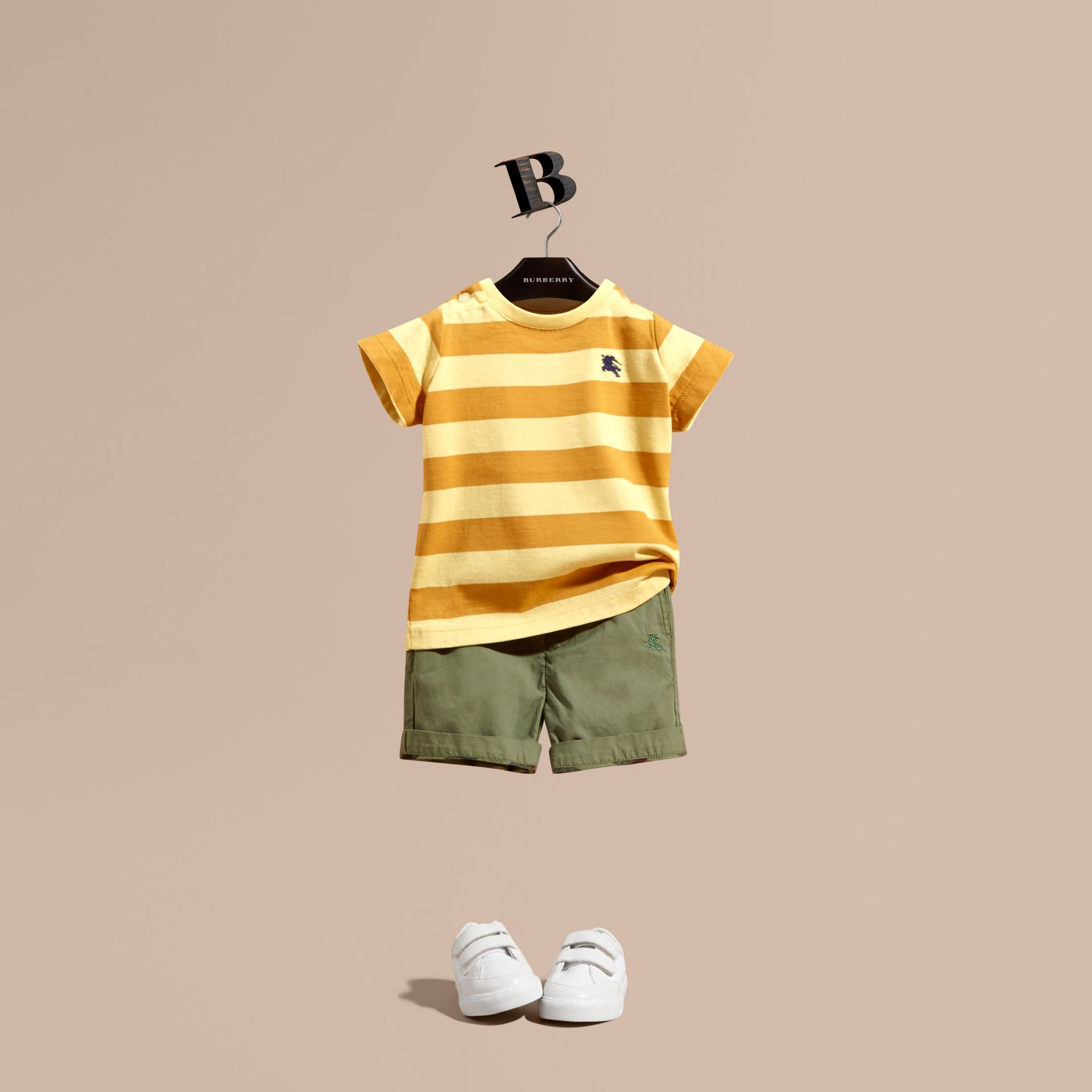 Striped Cotton T-shirt in Pale Yellow/ochre Yellow | Burberry - gallery image 1