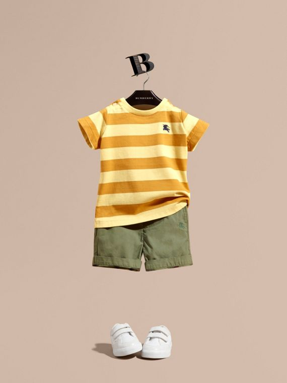 Striped Cotton T-shirt Pale Yellow/ochre Yellow