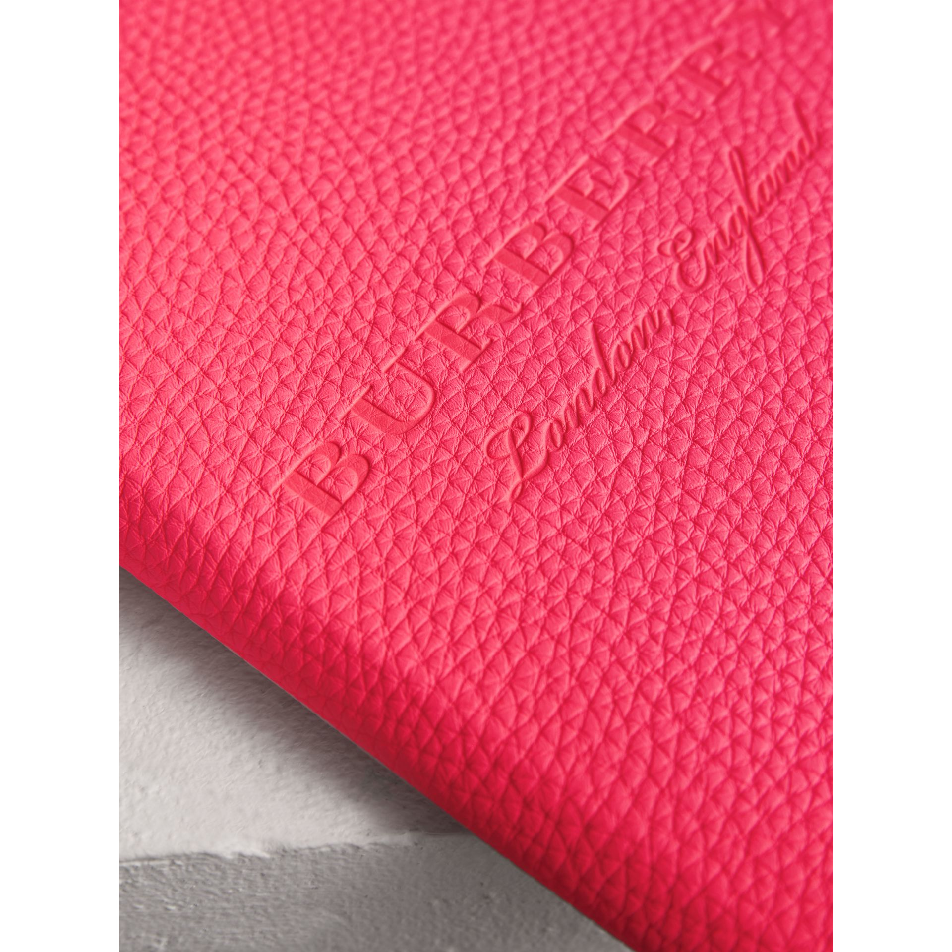 Embossed Grainy Leather Ziparound A5 Notebook Case in Bright Pink | Burberry - gallery image 1