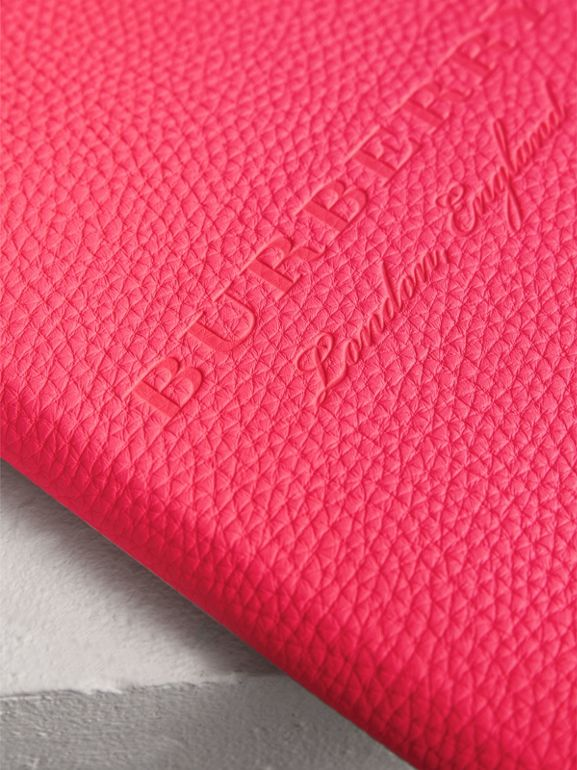 Embossed Grainy Leather Ziparound A5 Notebook Case in Bright Pink | Burberry - cell image 1