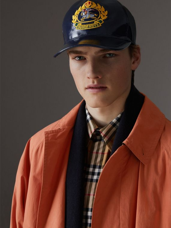 Archive Logo Coated Cotton Baseball Cap in Navy | Burberry Australia - cell image 3