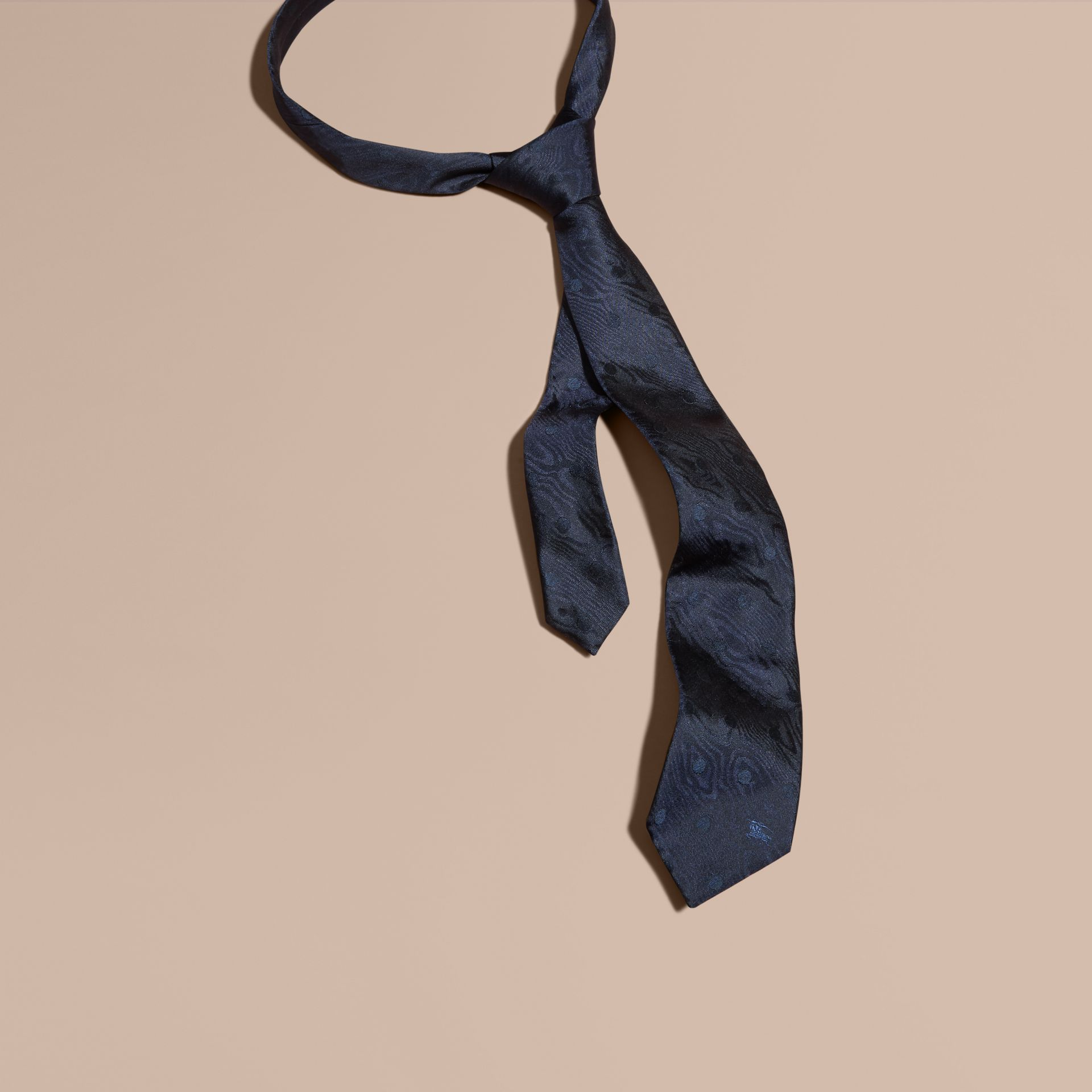 Navy Modern Cut Polka Dot Silk Tie Navy - gallery image 1