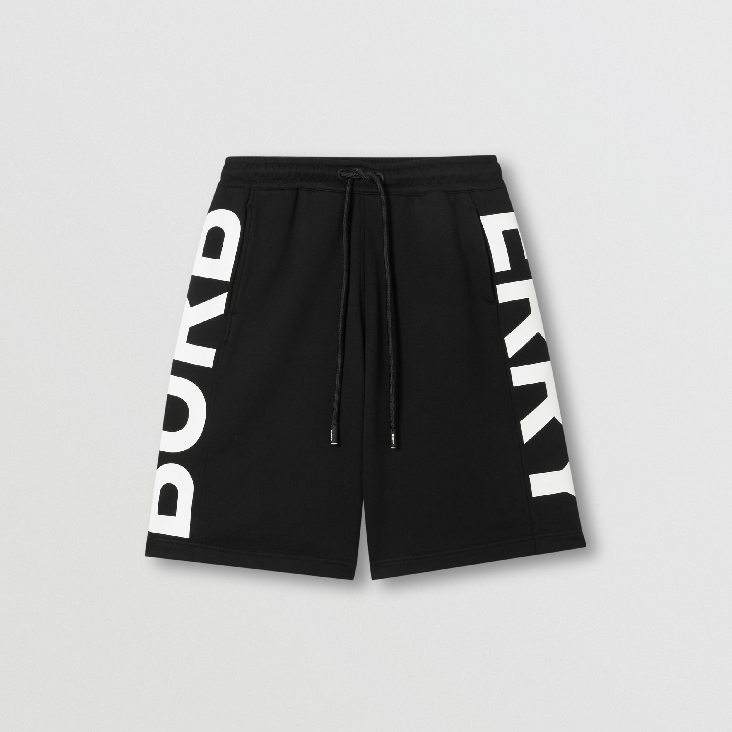 Logo Print Cotton Drawcord Shorts in Black - Men | Burberry Singapore - 4