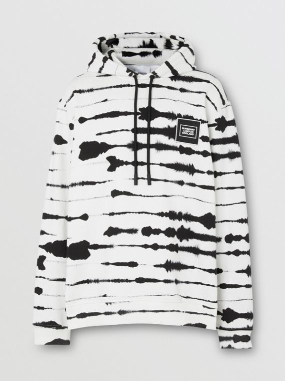Logo Appliqué Watercolour Print Cotton Hoodie in Monochrome