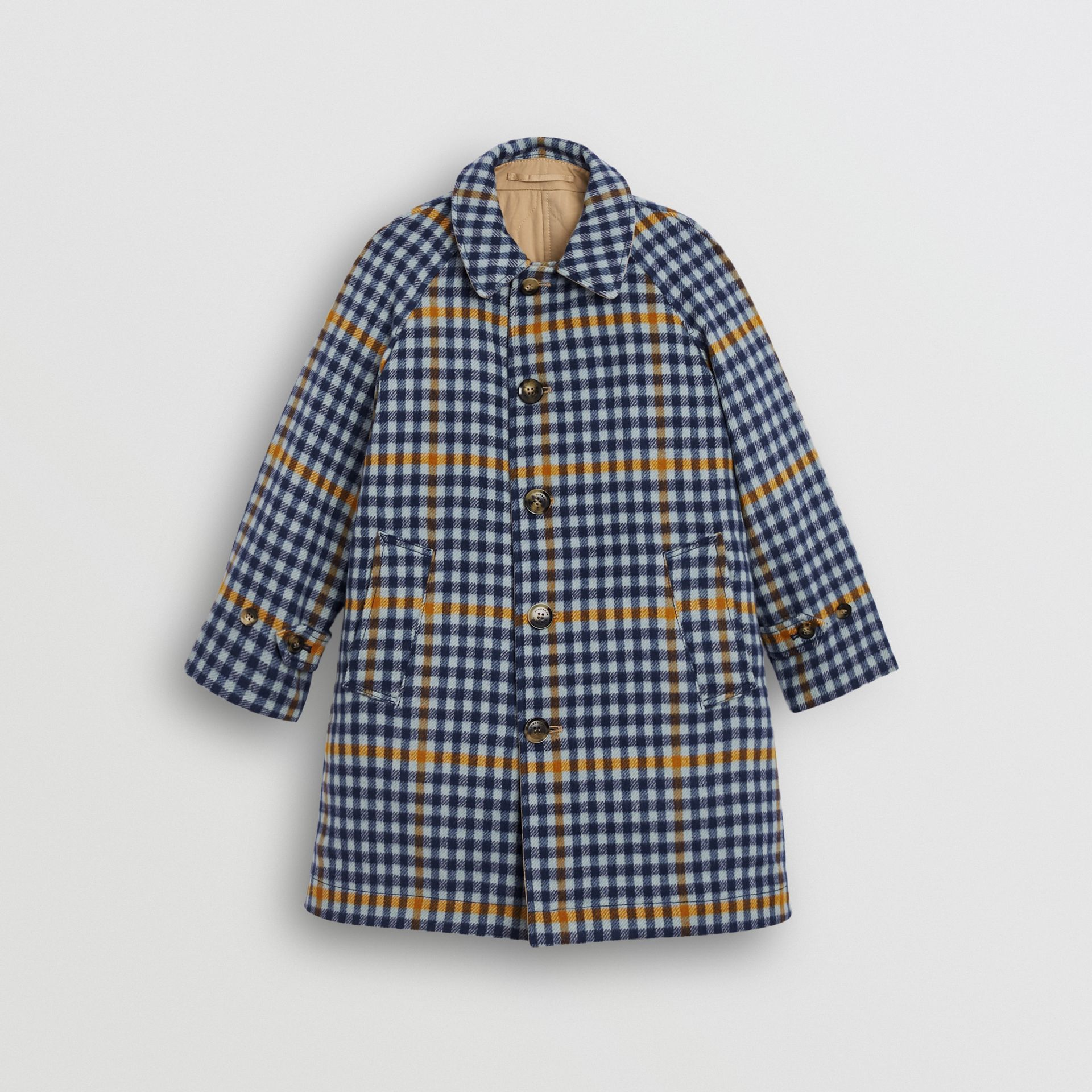 Reversible Check Wool and Cotton Car Coat in Canvas Blue - Children | Burberry - gallery image 0