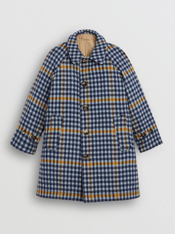 Reversible Check Wool and Cotton Car Coat in Canvas Blue