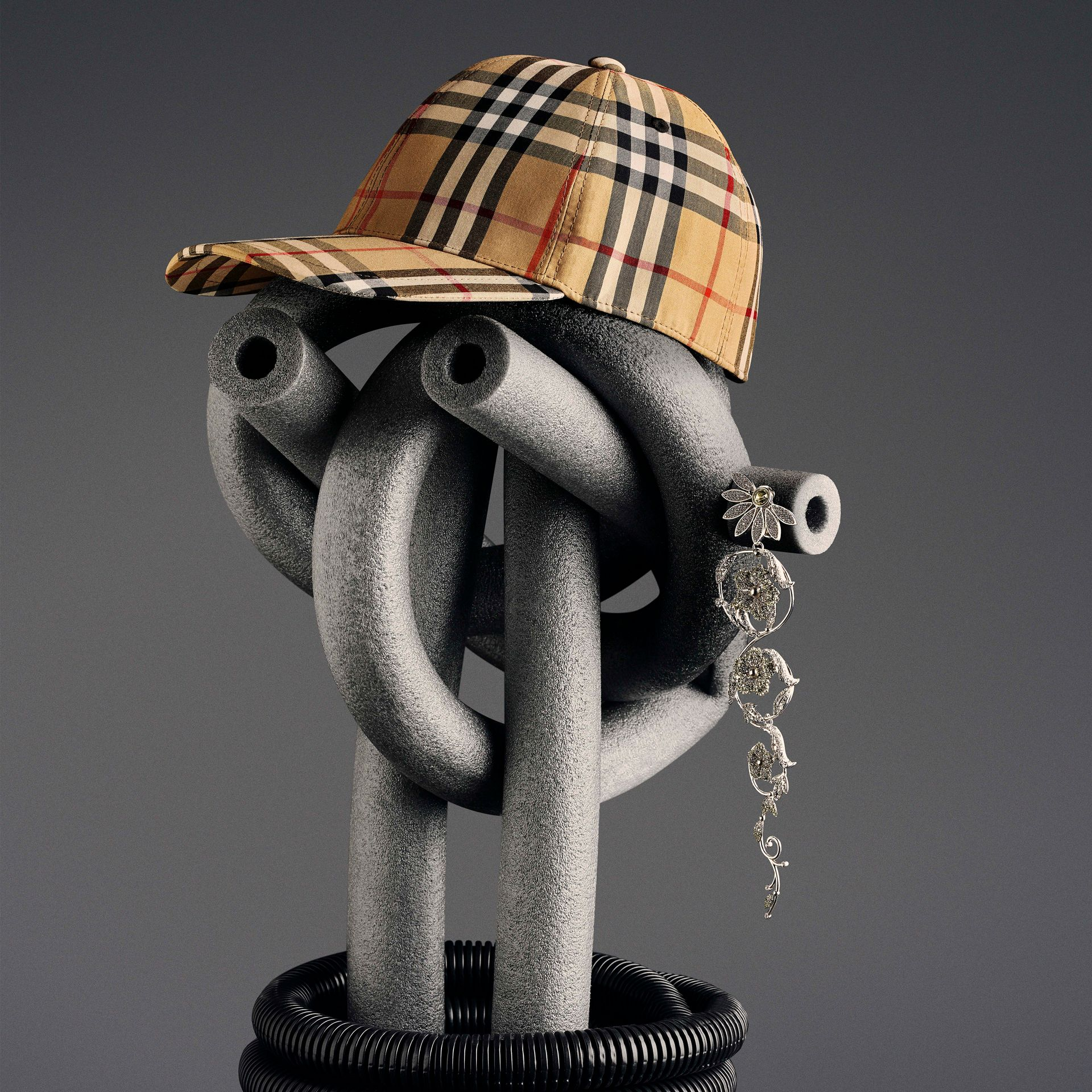 Vintage Check Baseball Cap in Antique Yellow | Burberry - gallery image 7
