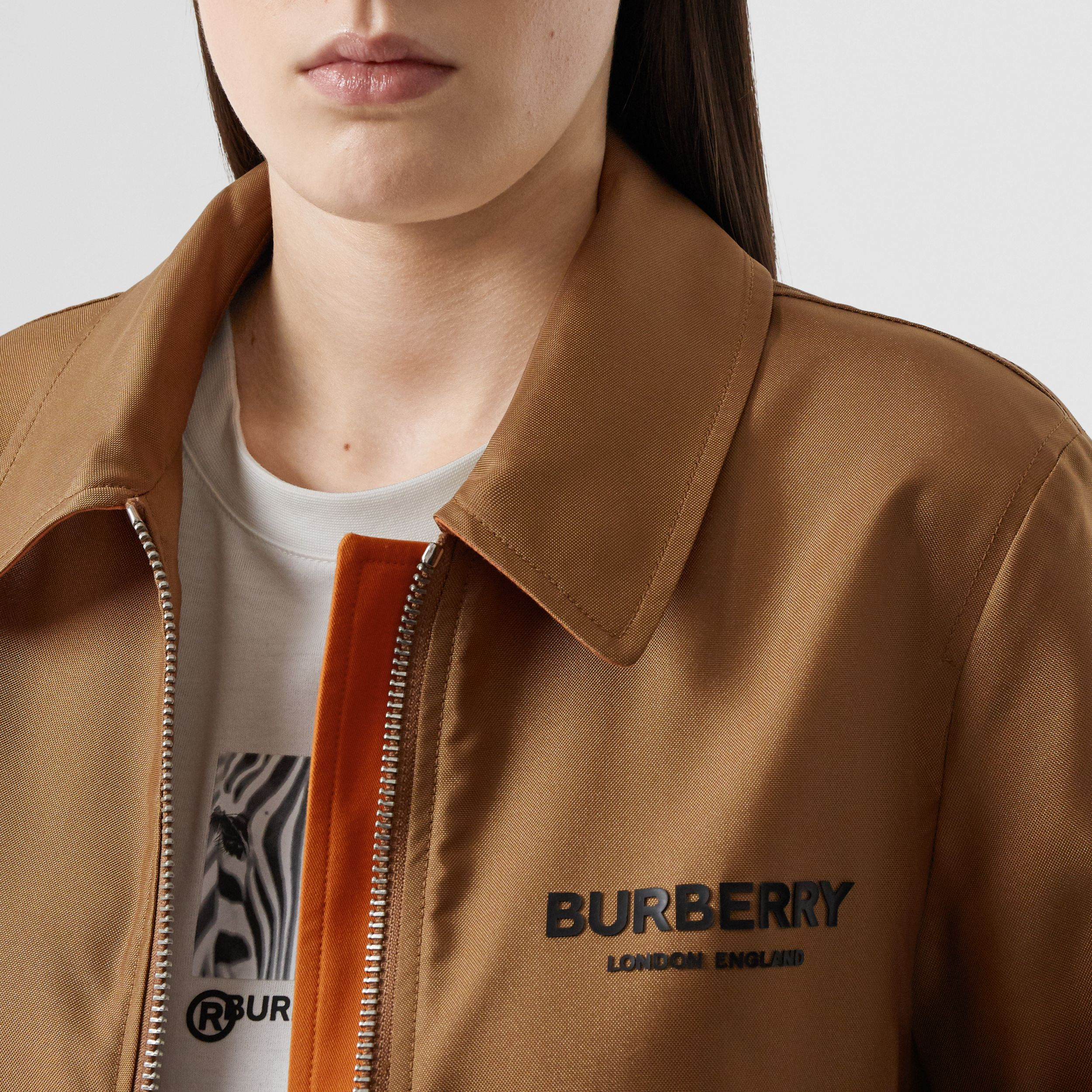 Logo Appliqué Technical Canvas Coat in Camel - Women | Burberry - 2