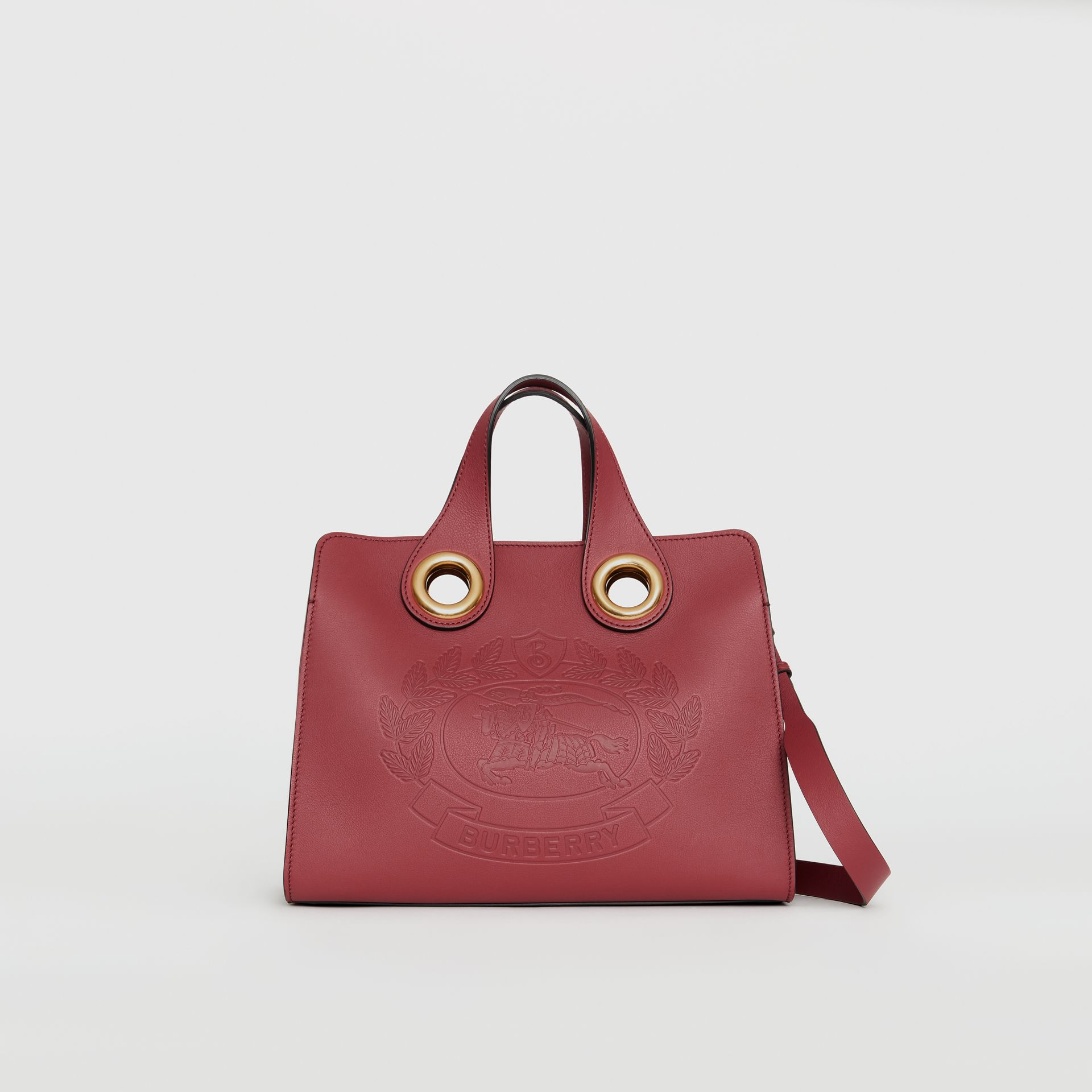 The Leather Crest Grommet Detail Tote in Crimson - Women | Burberry - gallery image 0