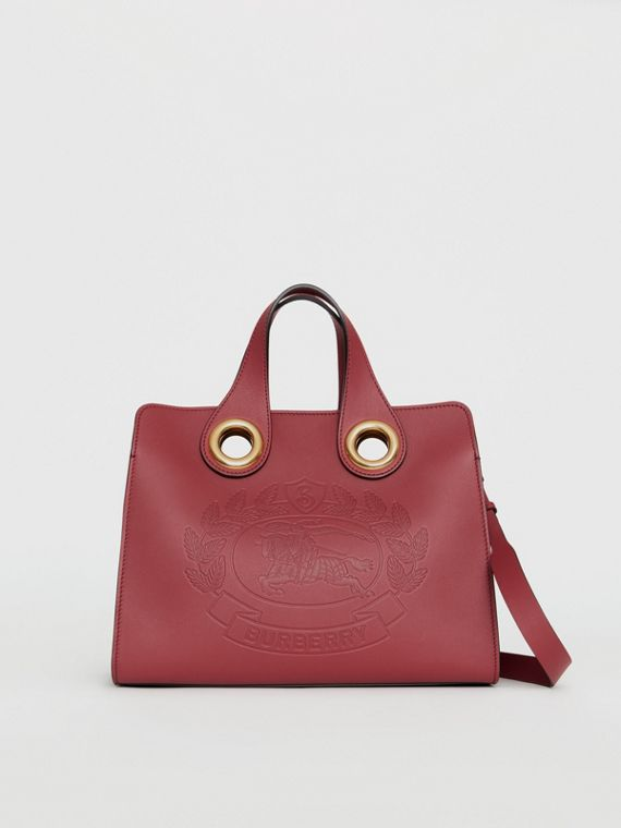 The Leather Crest Grommet Detail Tote in Crimson