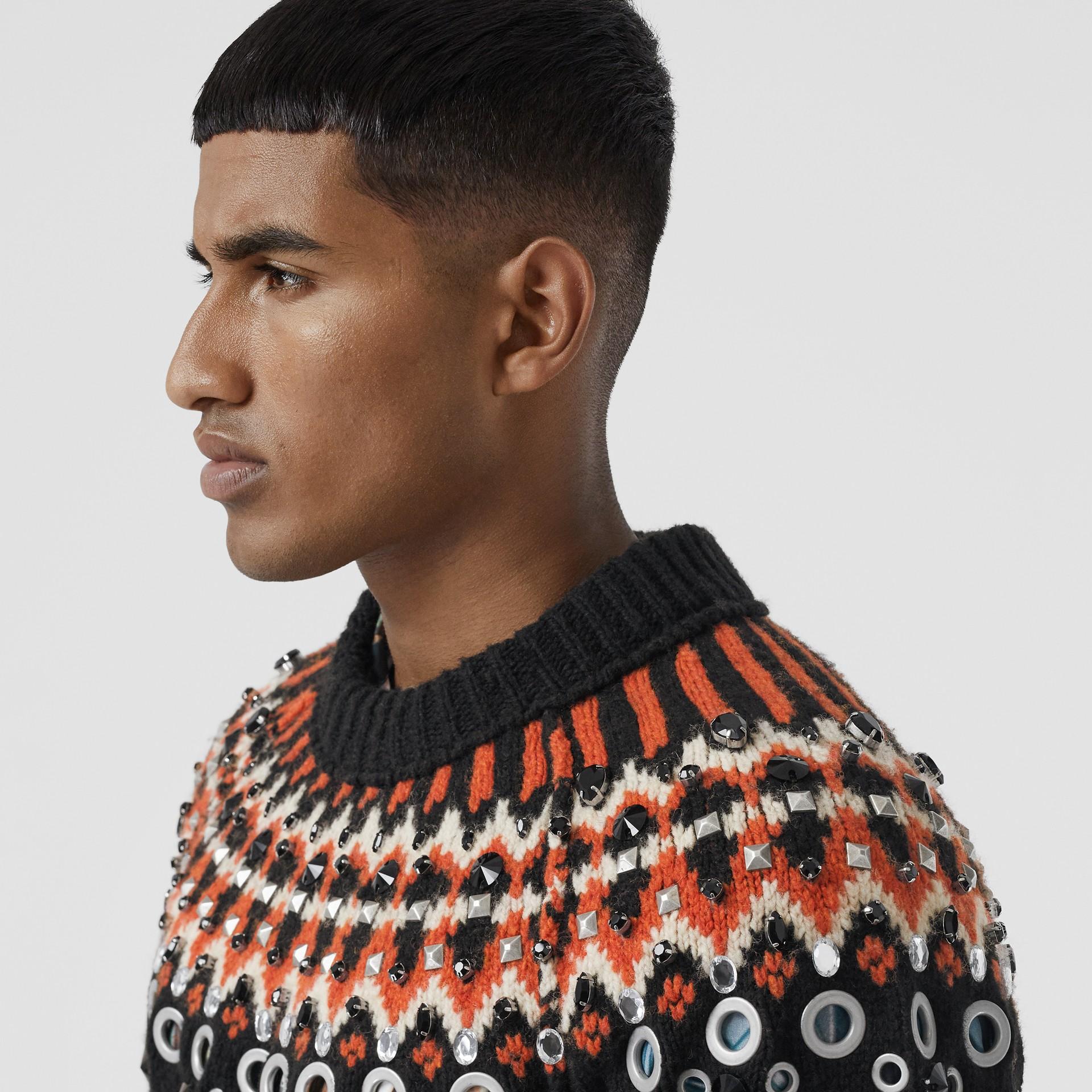 Embellished Fair Isle Wool Sweater in Black - Men | Burberry - gallery image 6