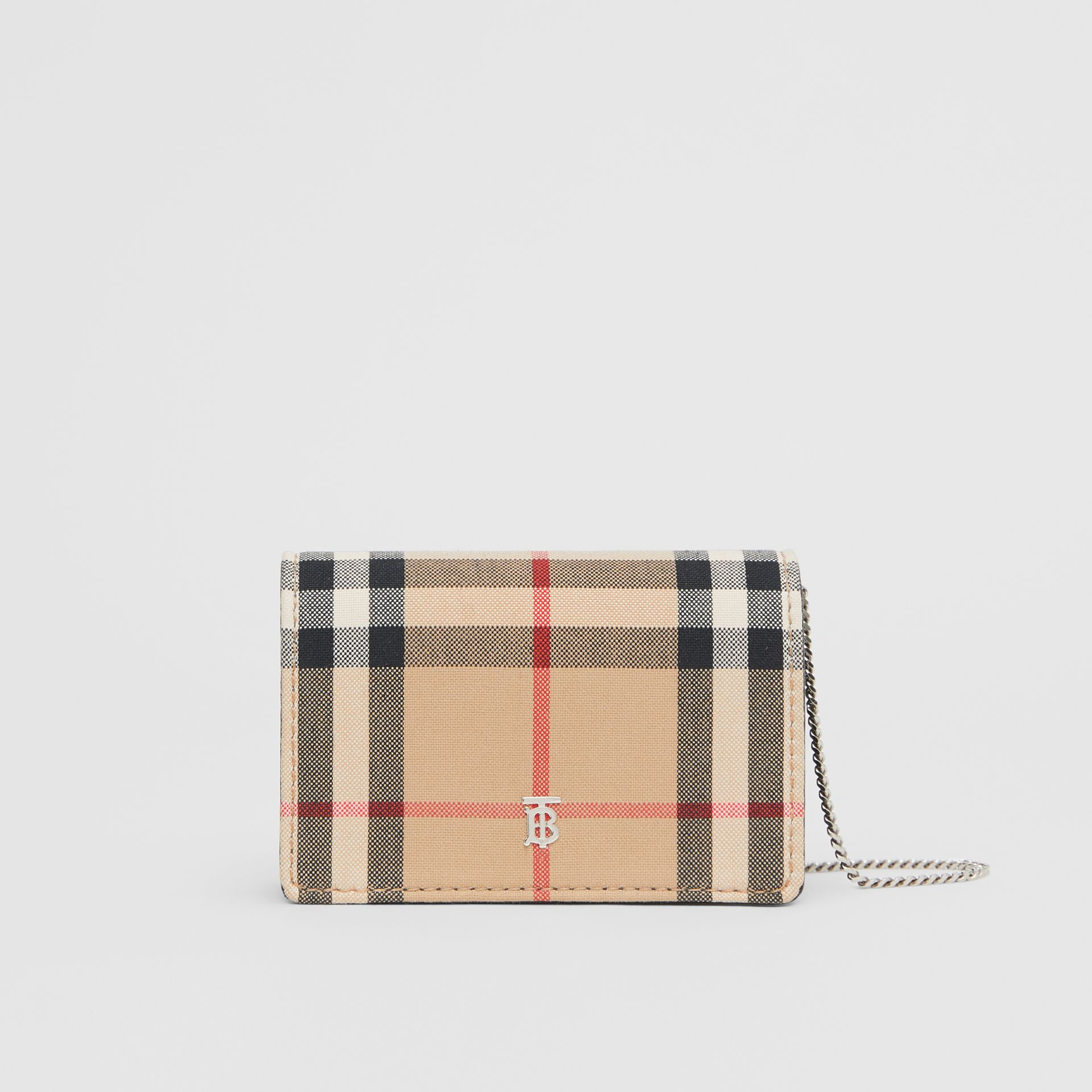 Vintage Check Card Case with Detachable Strap in Black - Women | Burberry - gallery image 0
