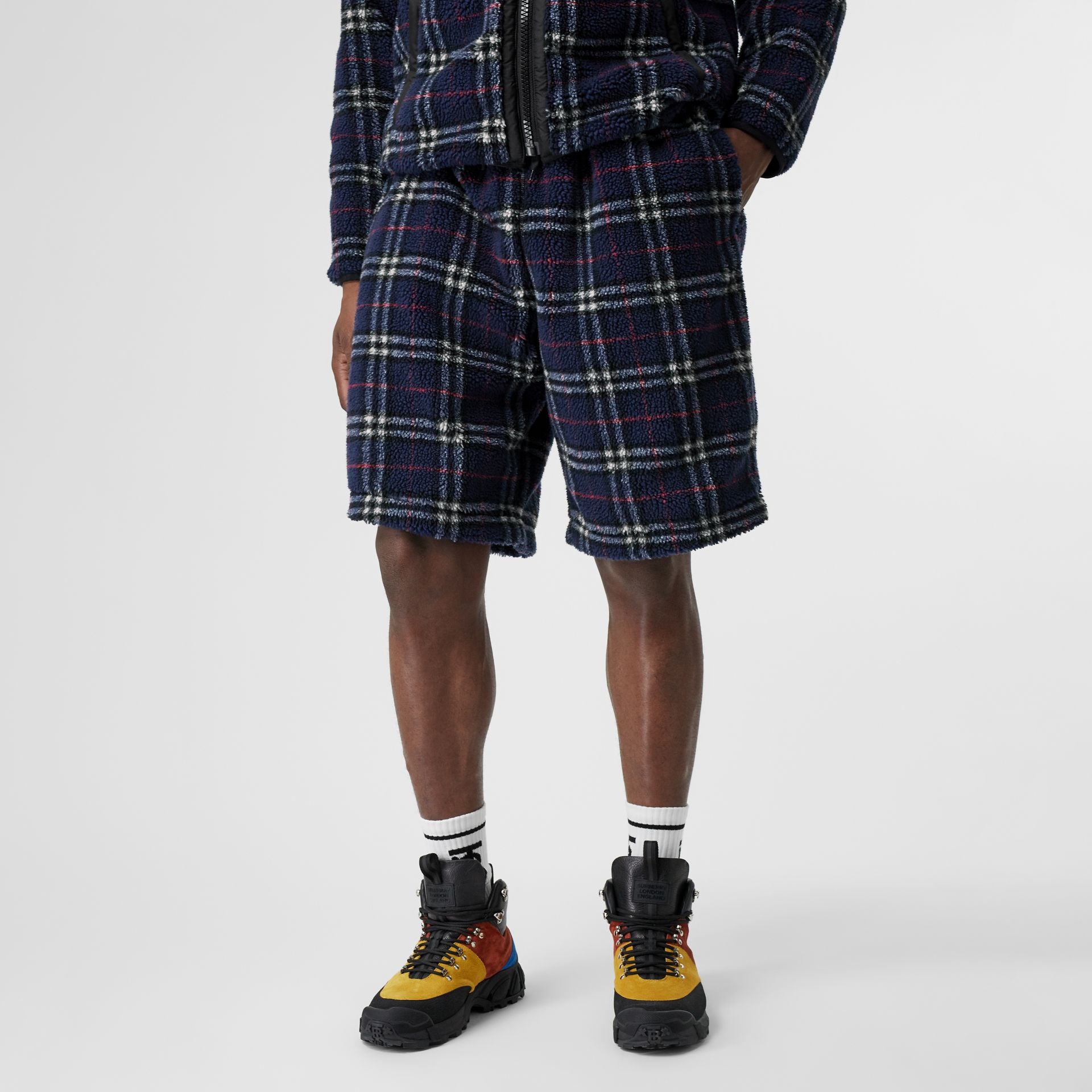 Vintage Check Faux Shearling Drawcord Shorts in Navy - Men | Burberry - gallery image 4