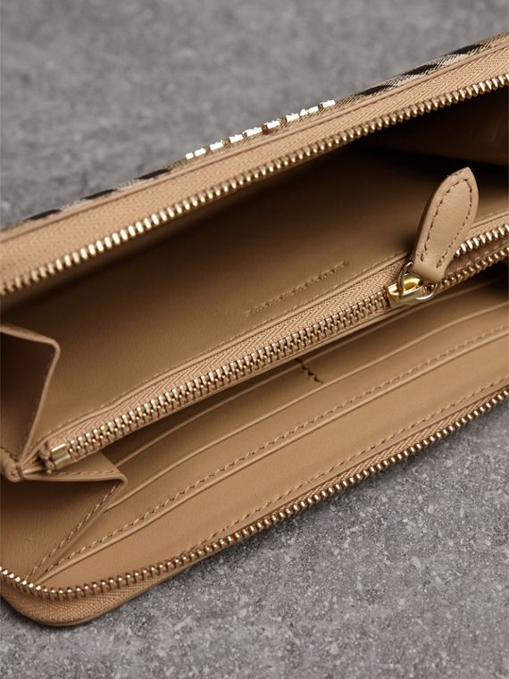Haymarket Check and Leather Ziparound Wallet in Mid Camel - Women | Burberry United Kingdom - cell image 3