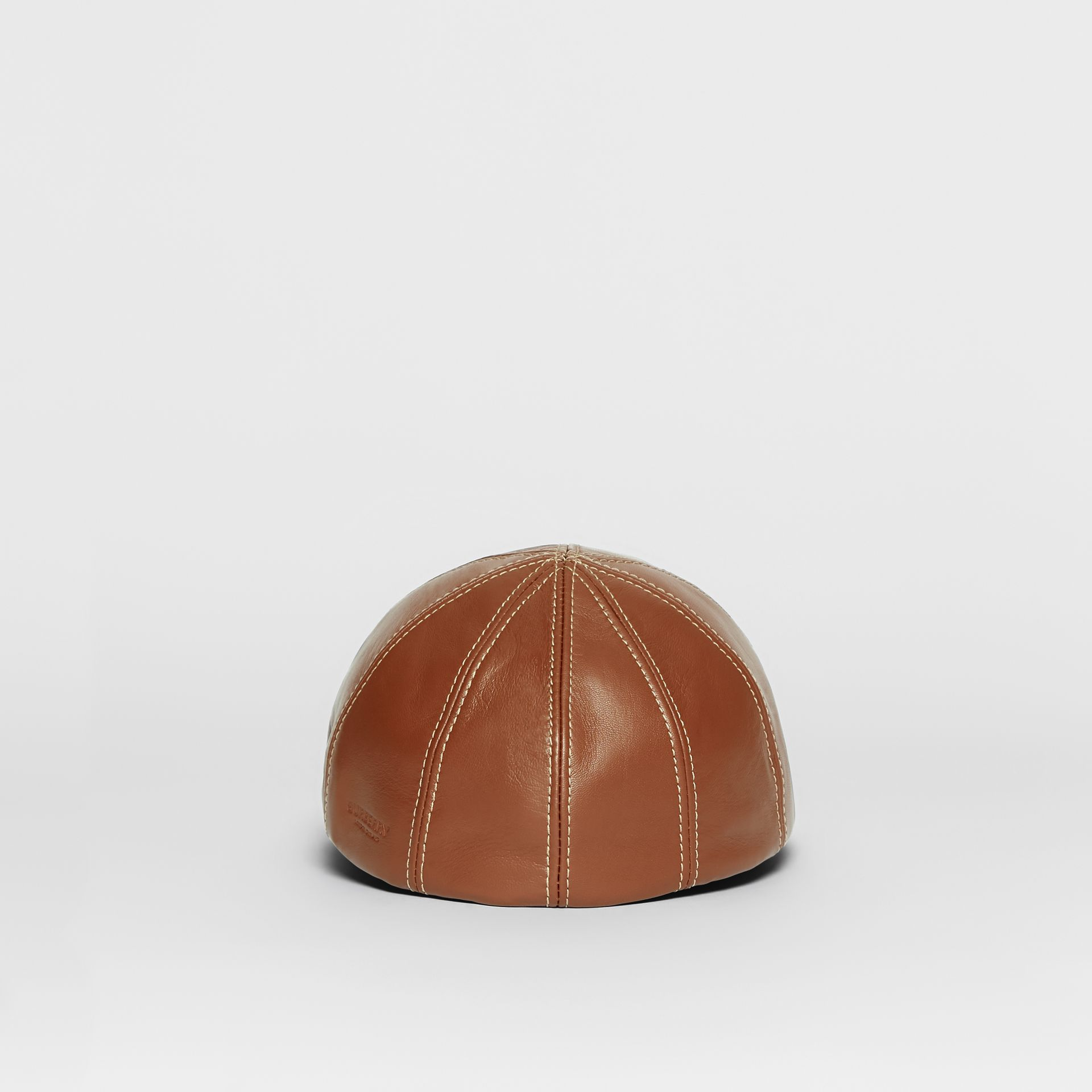 Lambskin Flat Cap in Tan | Burberry United Kingdom - gallery image 5