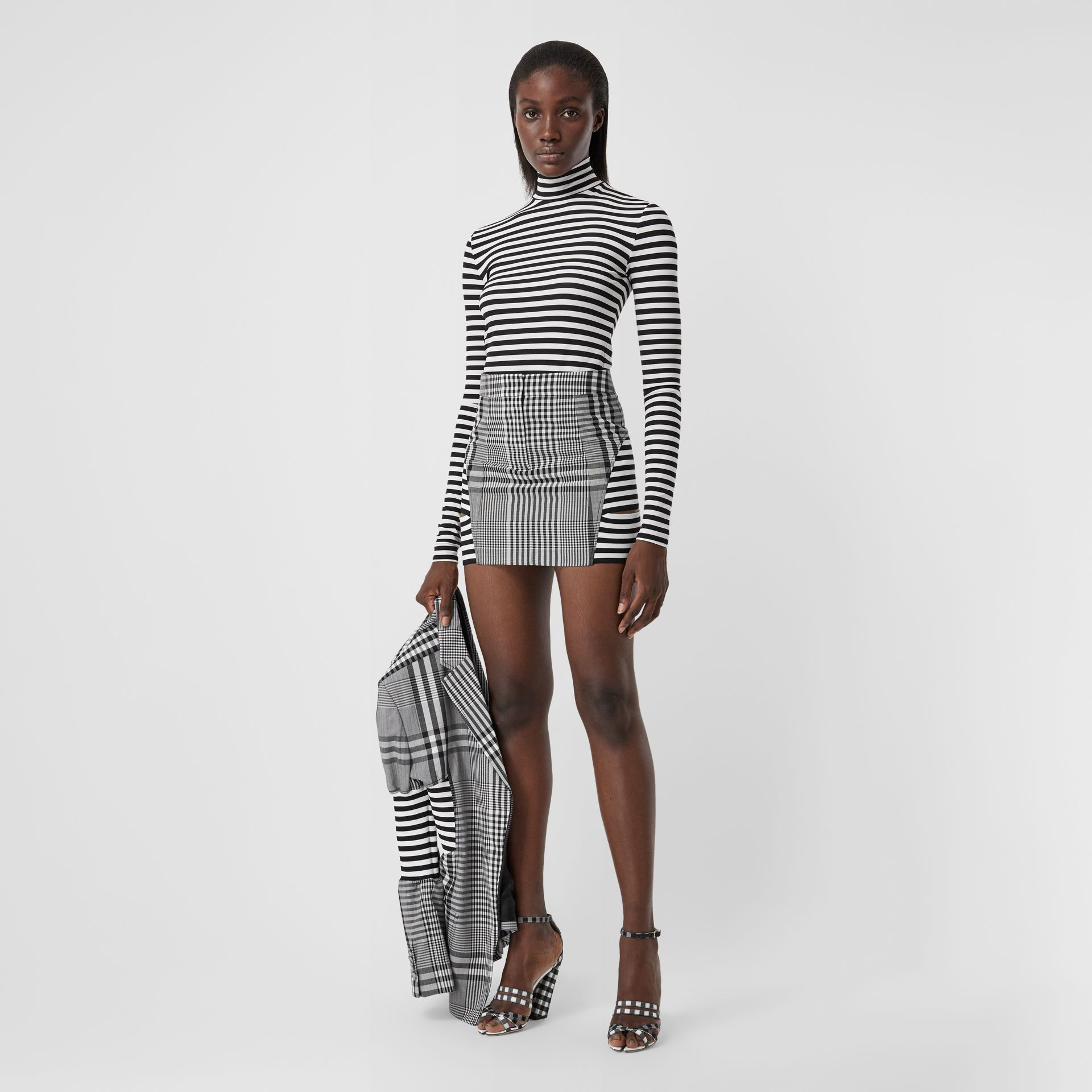 Stripe and Check Technical Wool Mini Skirt in Black - Women | Burberry - gallery image 0