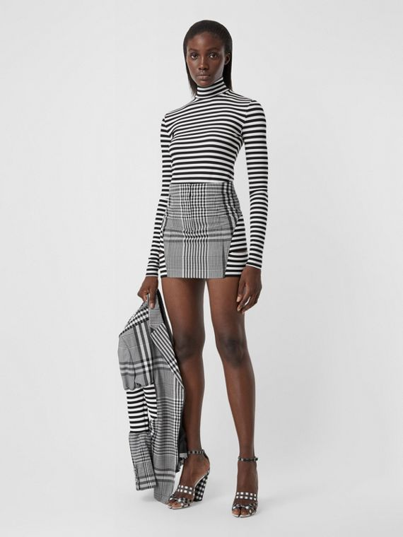 Stripe and Check Technical Wool Mini Skirt in Black
