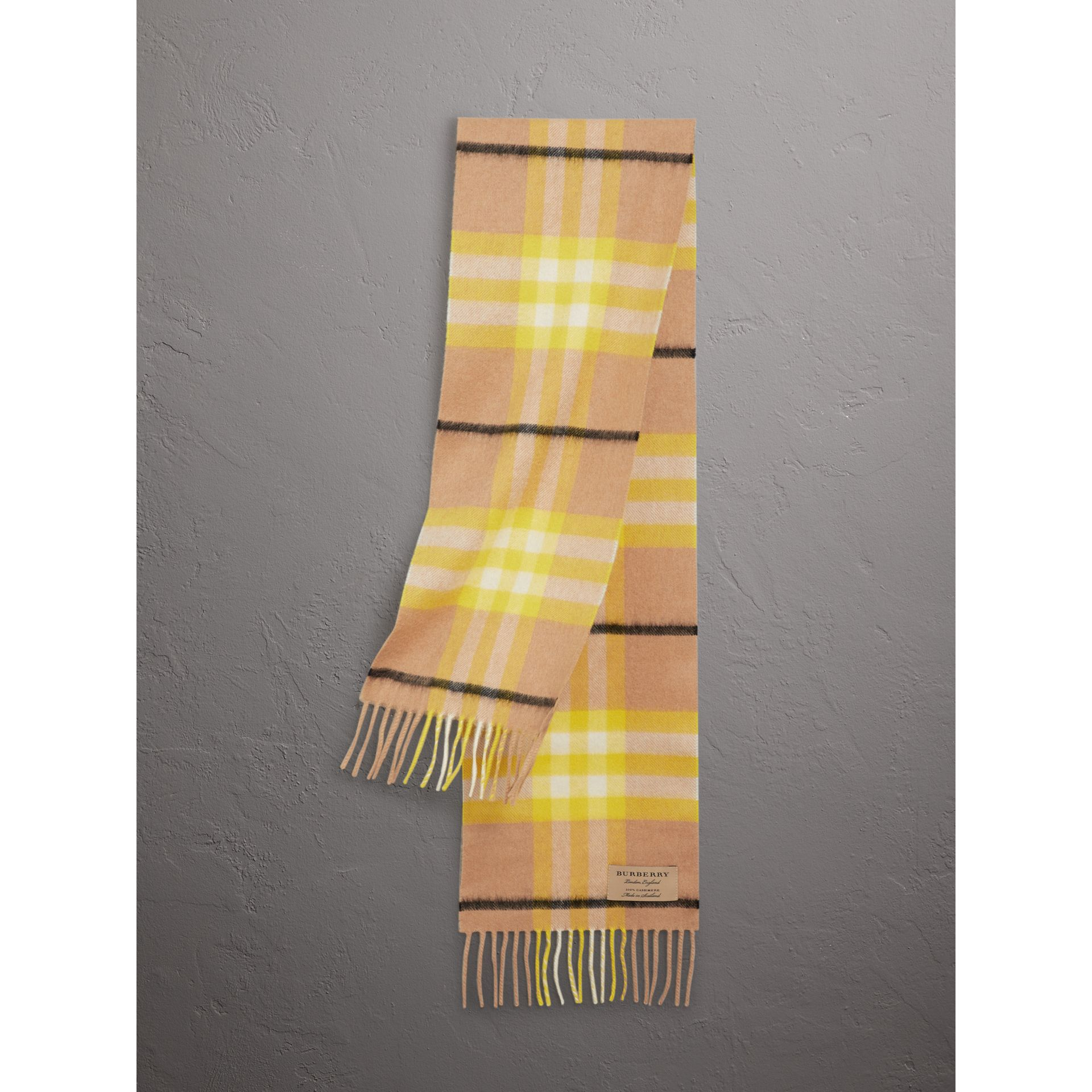 The Mini Classic Check Cashmere Scarf in Bright Lemon | Burberry Canada - gallery image 0
