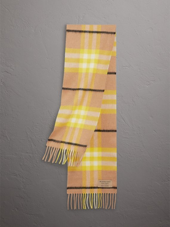 The Mini Classic Check Cashmere Scarf in Bright Lemon