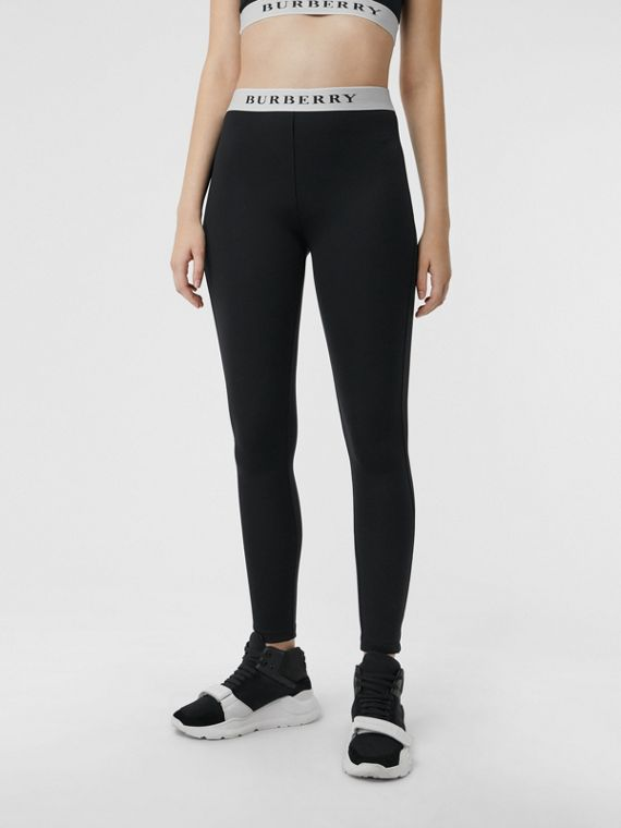 Logo Detail Jersey Leggings in Black