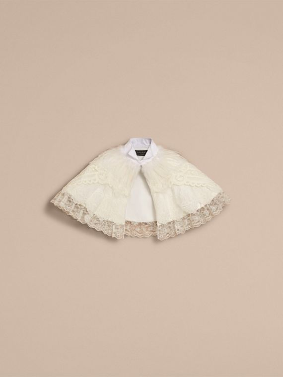Feather Collar Detail Layered Lace Capelet in White - Women | Burberry Singapore - cell image 3