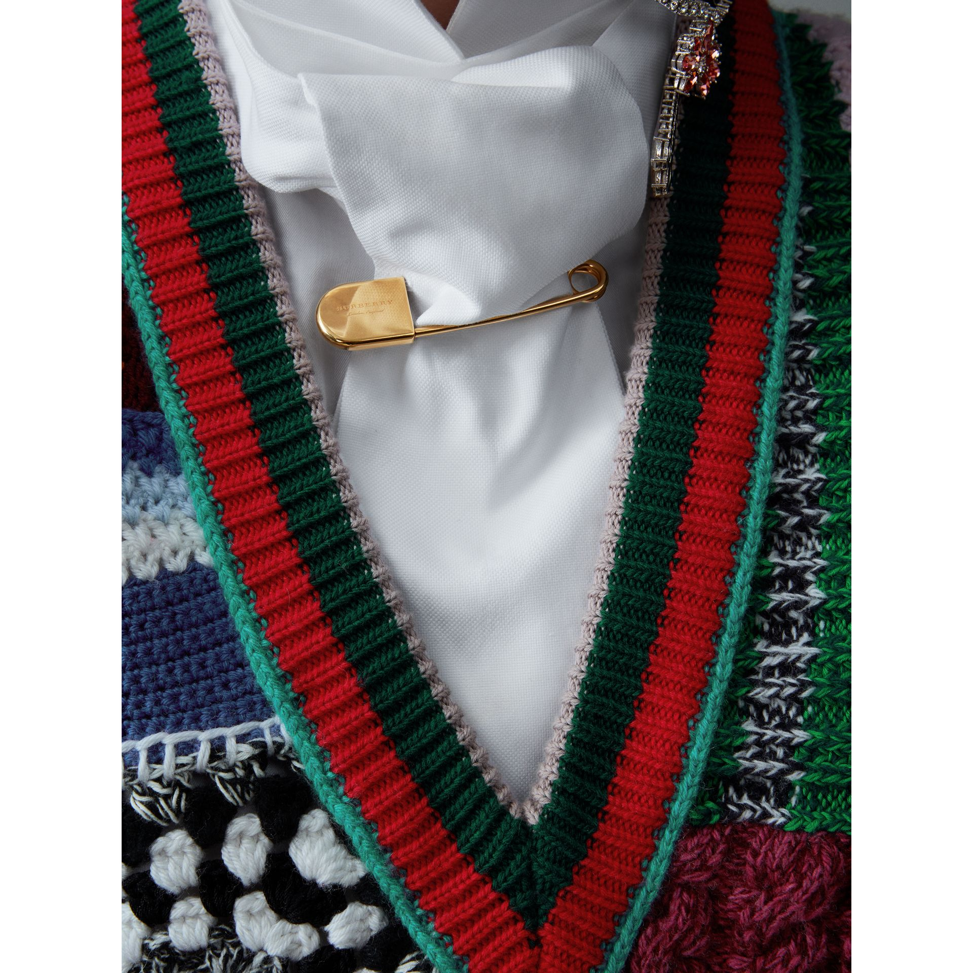 Hand-embroidered Wool Cashmere Blend Tank Top in Multicolour - Women | Burberry United States - gallery image 4