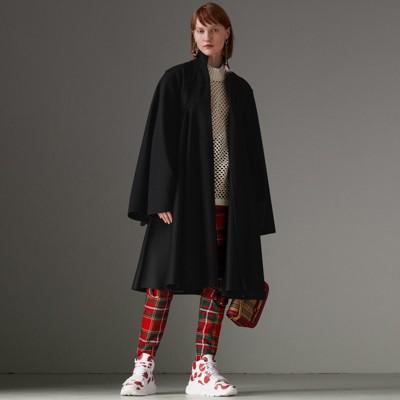 Tailored Doeskin Wool Cape in Black