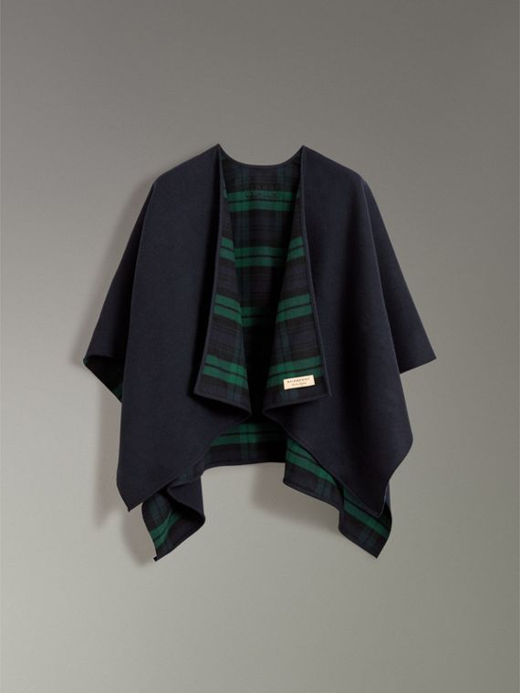Reversible Cropped Tartan Wool Poncho in Navy | Burberry - cell image 3