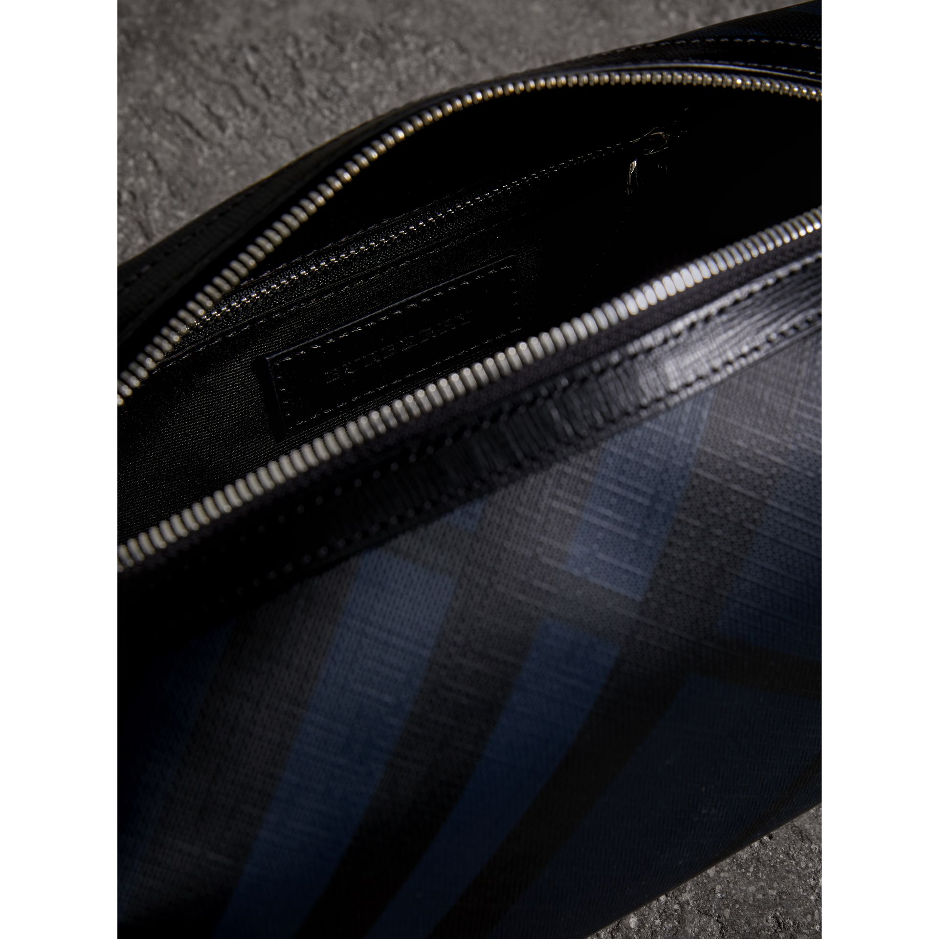 London Check and Leather Pouch in Navy/black - Men | Burberry - gallery image 3