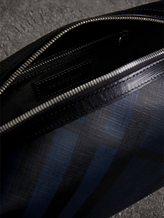 London Check and Leather Pouch in Navy/black - Men | Burberry United States - cell image 3