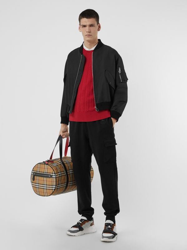Large Vintage Check and Leather Barrel Bag in Antique Yellow - Men | Burberry Australia - cell image 2