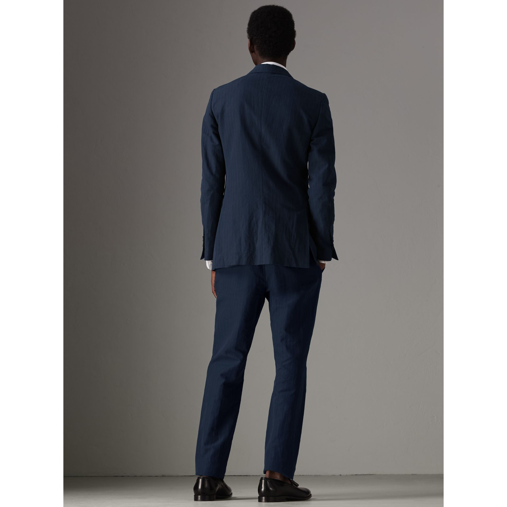 Slim Fit Pinstripe Ramie Cotton Suit in Navy - Men | Burberry - gallery image 2