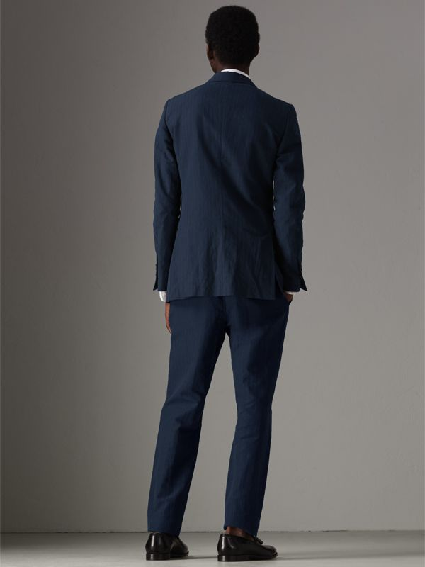 Slim Fit Pinstripe Ramie Cotton Suit in Navy - Men | Burberry Singapore - cell image 2