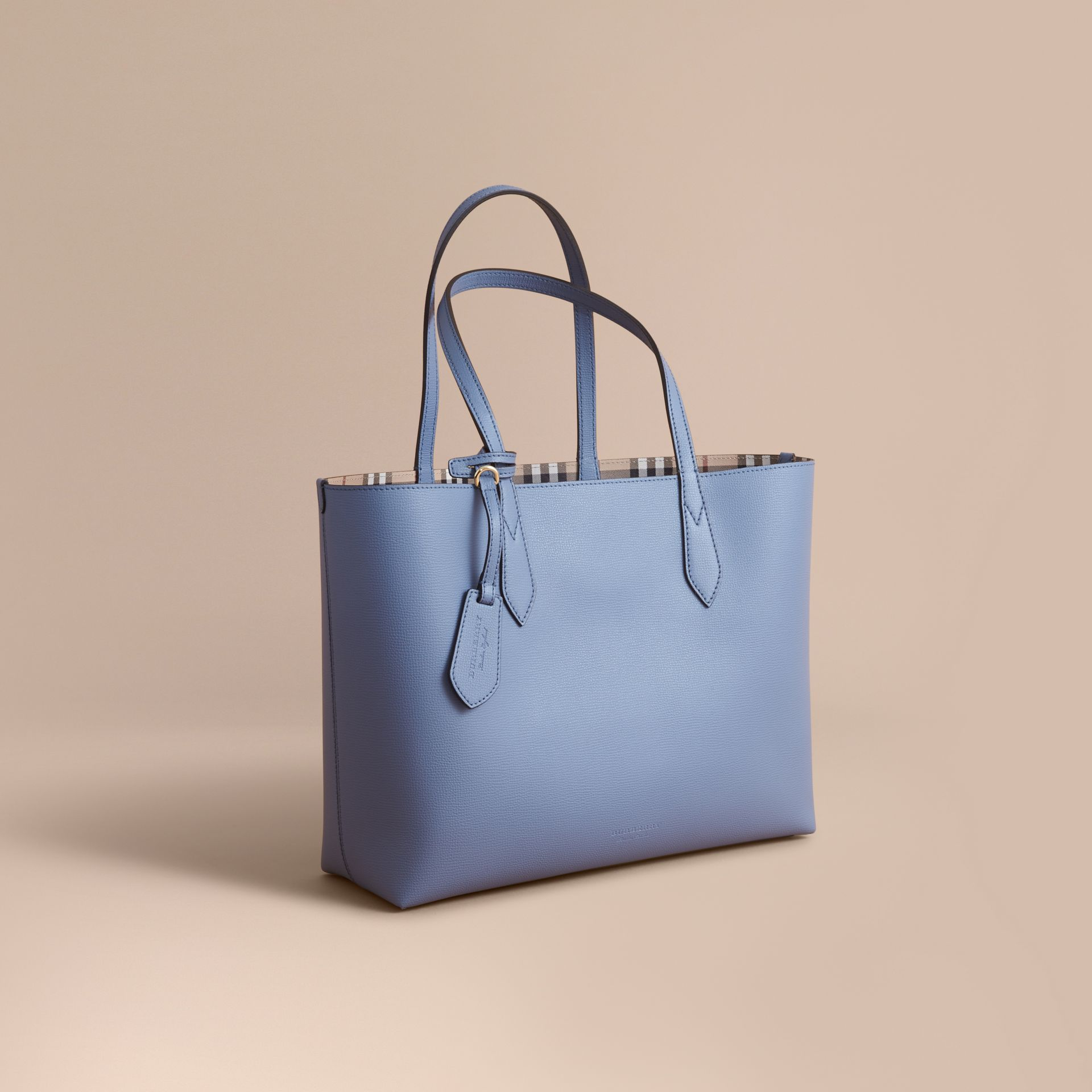 The Medium Reversible Tote in Haymarket Check and Leather Slate Blue - gallery image 1