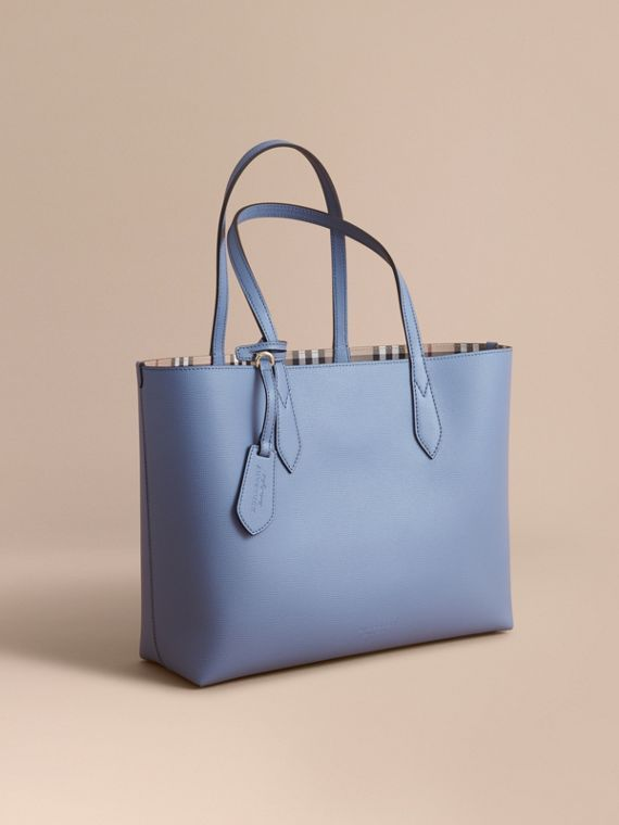 The Medium Reversible Tote in Haymarket Check and Leather in Slate Blue