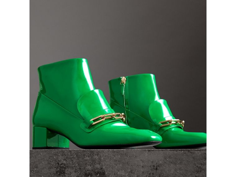 Link Detail Patent Leather Ankle Boots in Bright Pigment Green - Women | Burberry Canada - cell image 4
