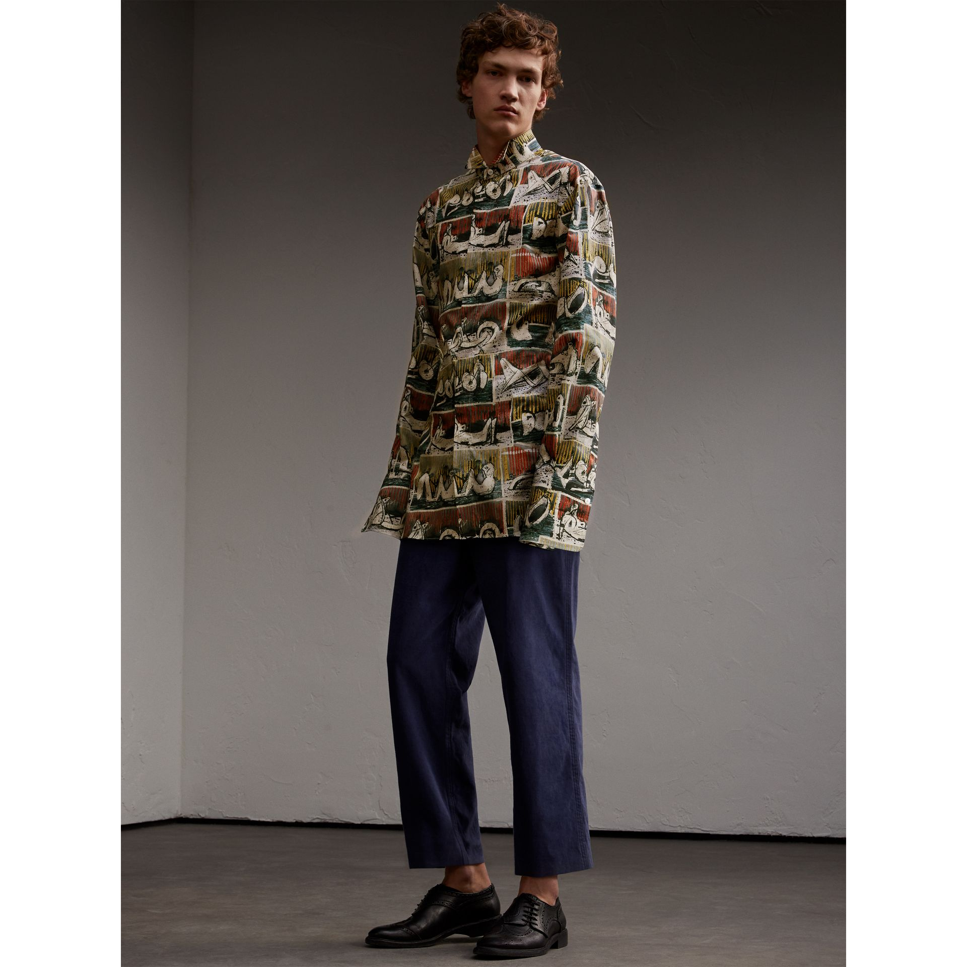Reclining Figures Print Stretch Cotton Shirt - Men | Burberry Australia - gallery image 6