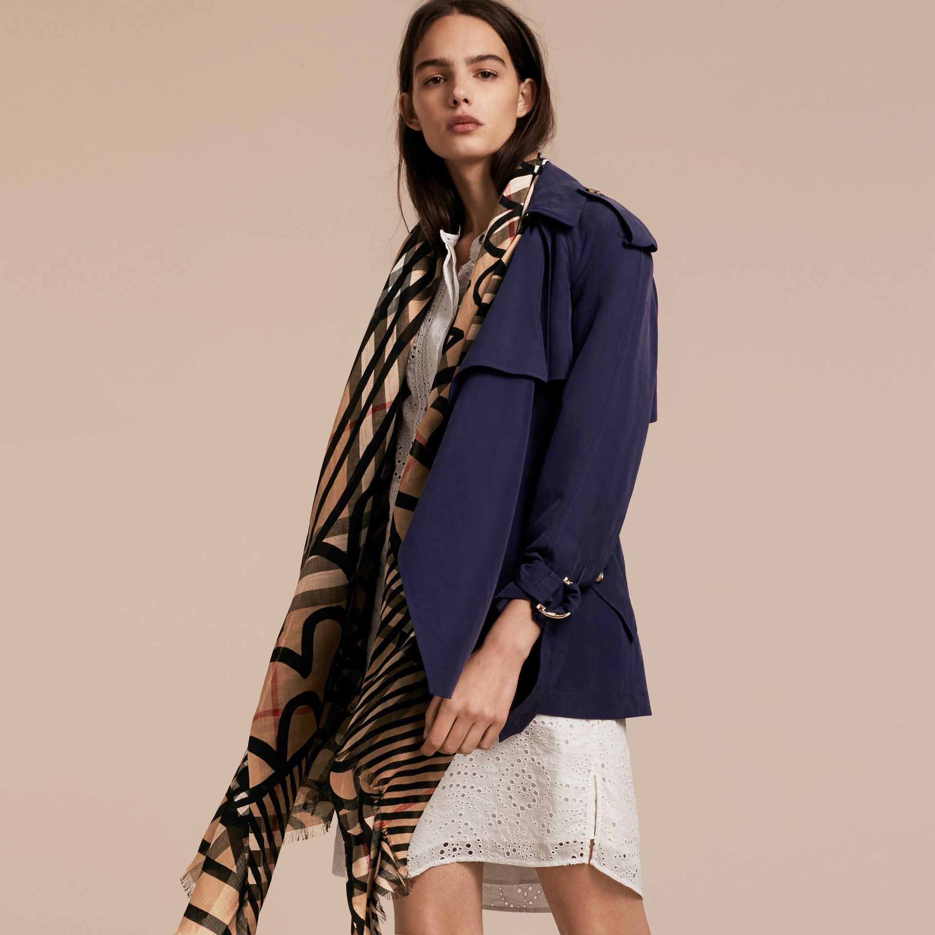 Check Wool Silk Scarf with Trompe L'oeil Print in Camel/black - Women | Burberry Hong Kong - gallery image 3