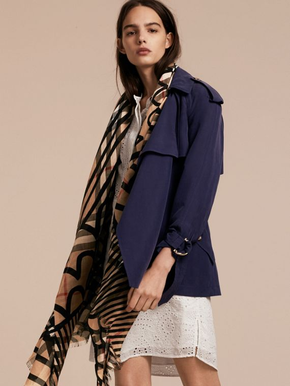 Check Wool Silk Scarf with Trompe L'oeil Print in Camel/black - Women | Burberry - cell image 2