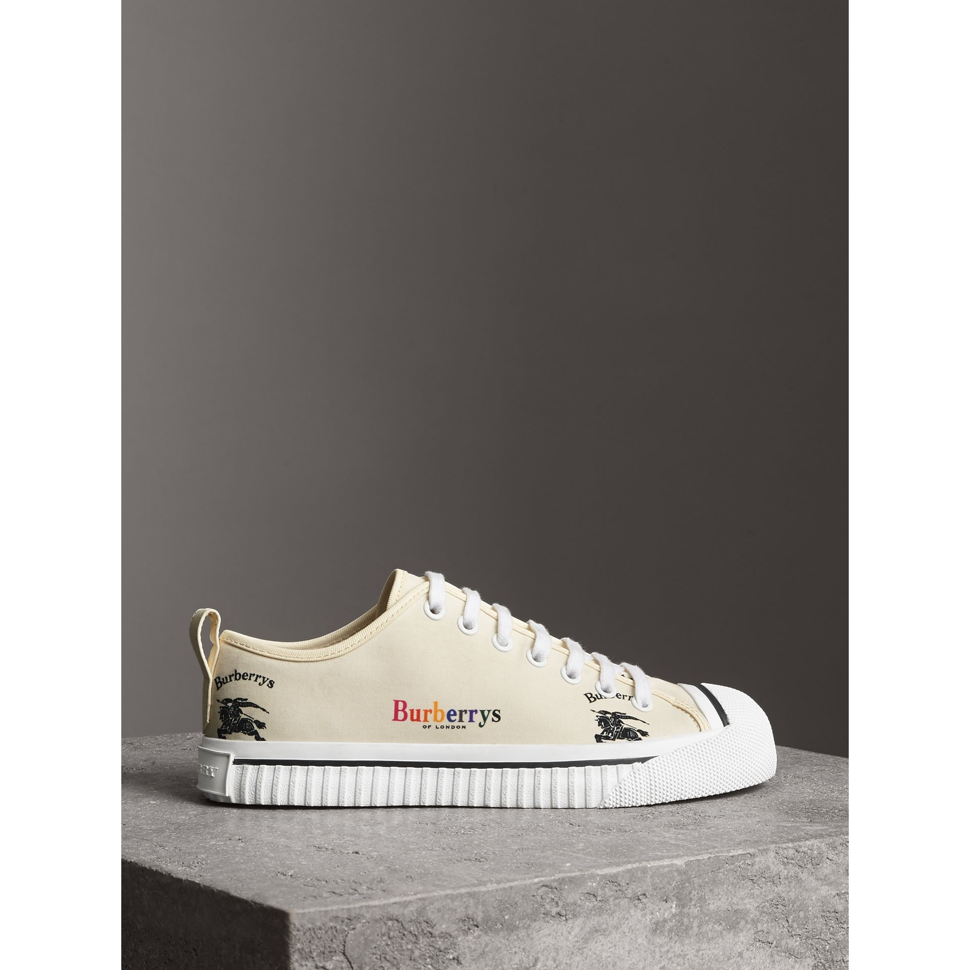 Archive Logo Cotton Sneakers in Off White - Women | Burberry Canada - gallery image 4