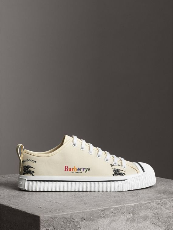 Archive Logo Cotton Sneakers in Off White