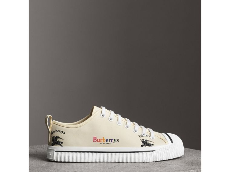 Archive Logo Cotton Sneakers in Off White - Women | Burberry United States - cell image 4