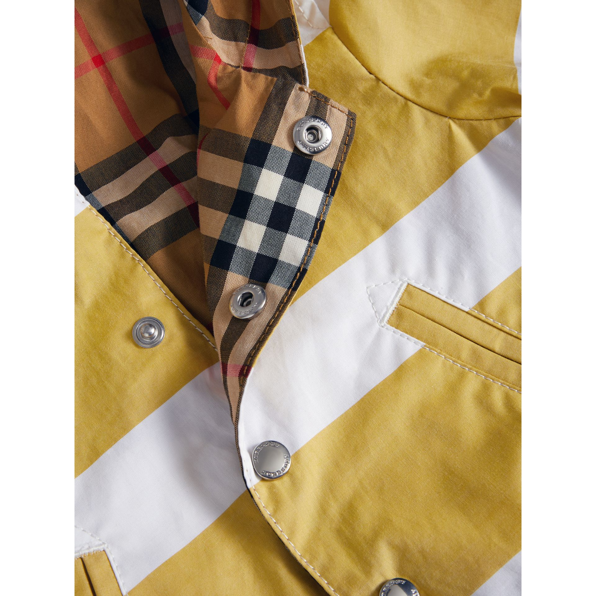 Reversible Stripe and Vintage Check Hooded Jacket in Larch Yellow/whte - Children | Burberry - gallery image 1