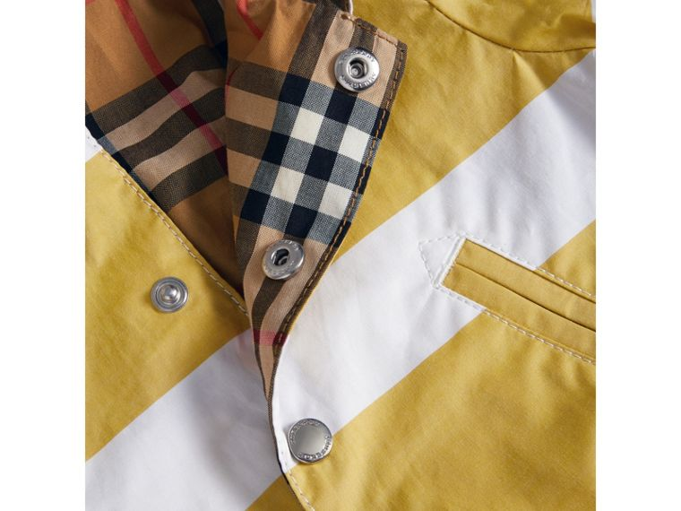 Reversible Stripe and Vintage Check Hooded Jacket in Larch Yellow/whte | Burberry - cell image 1