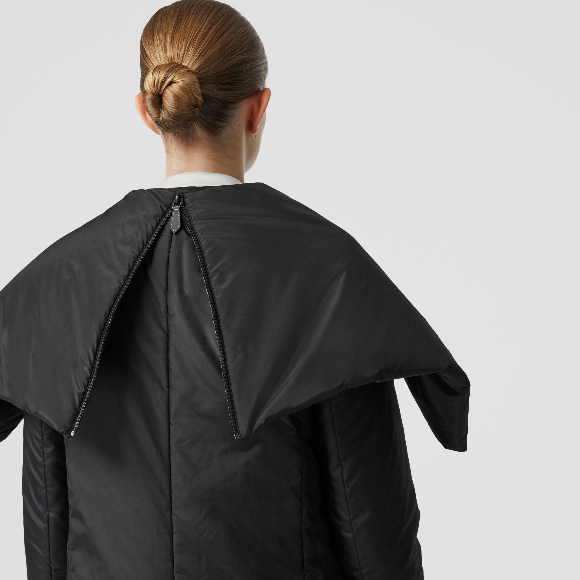 Cape Detail Silk Blend Wrap Coat in Black - Women | Burberry Singapore - gallery image 5