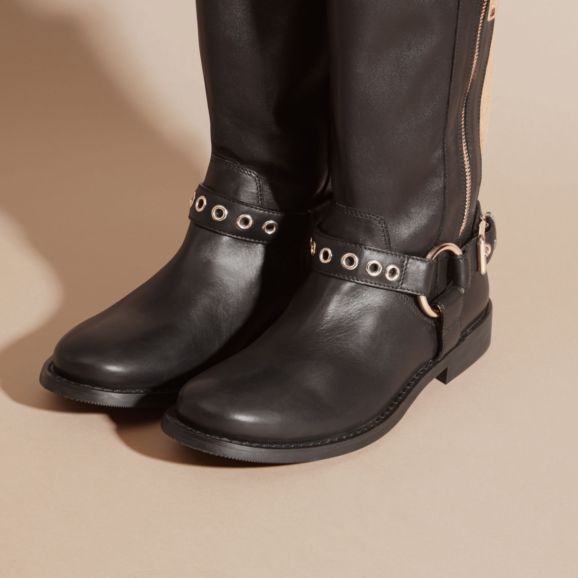 Black Buckle Detail Leather and Canvas Check Boots - gallery image 3
